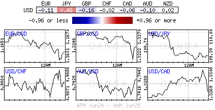 US Dollar Index for June 24-25, 2018.
